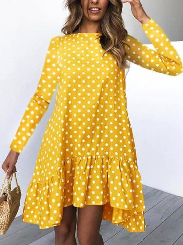 Women polka dot printed shift dresses