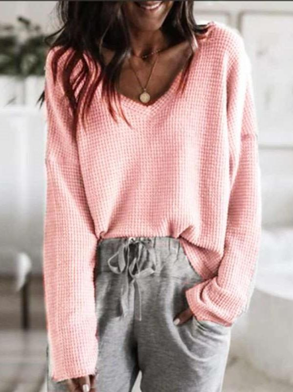 Pure Loose V neck Long sleeve Sweaters