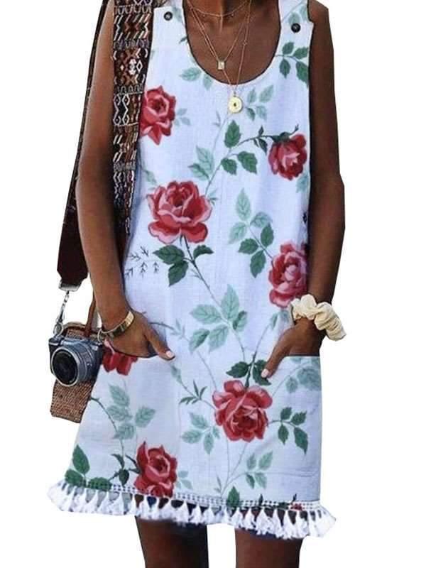 Summer Printed sleeveless vest shift dress