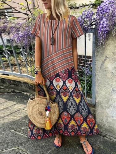 Fashion Loose Stripe Splicing Maxi Dresses