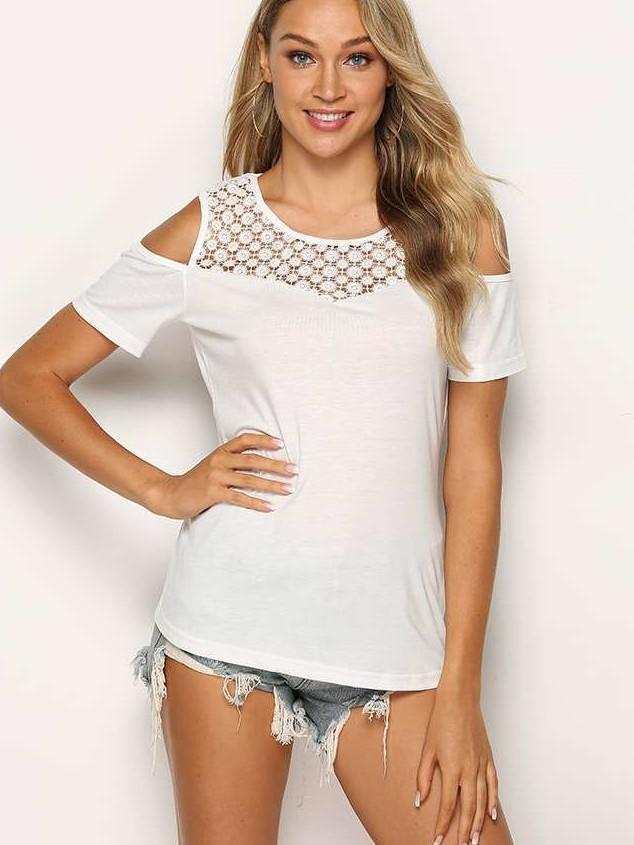 Fashion Pure Lace Off shoulder Short sleeve T-Shirts
