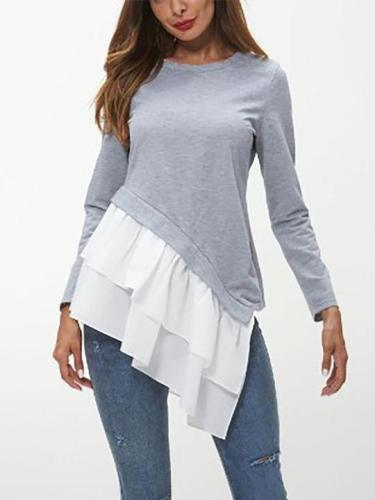Fashion Falbala Long sleeve Gored T-Shirts
