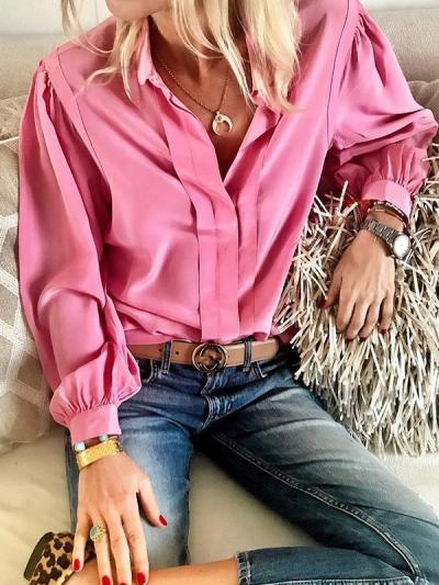 Casual loose women fashion turn down collar blouses