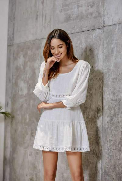 Pure Hollow out Puff sleeve Shift Dresses