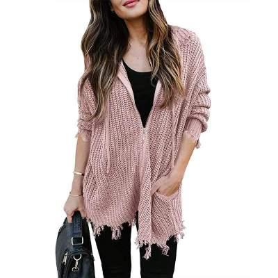 Casual Loose Pure Long sleeve Zipper Tassels Knit Hoodies Sweatshirts