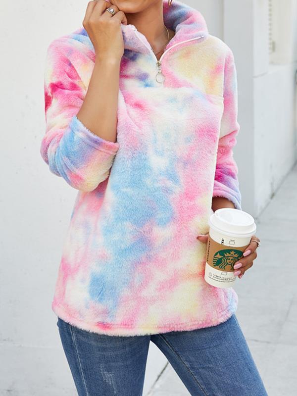 Fashion Gradient Warm High Neck Sweatshirts