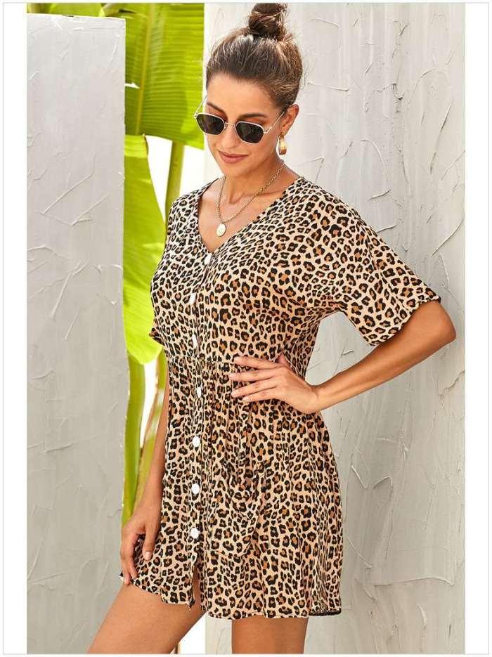 Loose Leopard print V neck Half sleeve Shift Dresses