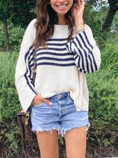 Women loose stripe knit long sleeve sweaters