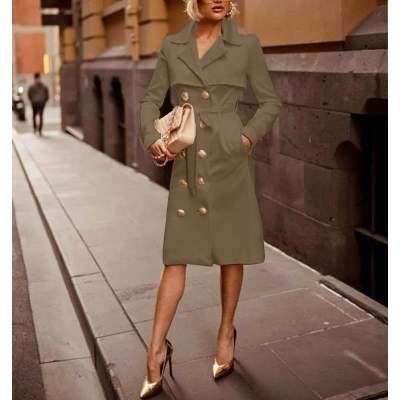 Fashion Pure Long sleeve Lapel  Fastener Coat Dresses