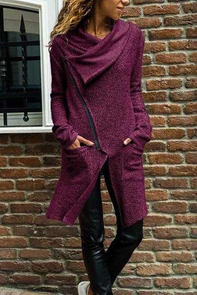 Fashion Lapel Zipper Long sleeve Coats