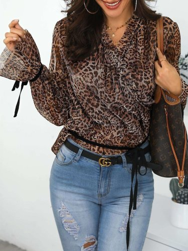 Fashion Leopard print Long sleeve T-Shirts