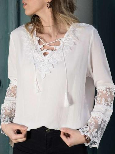Lace V neck Mandarin sleeve T-Shirts