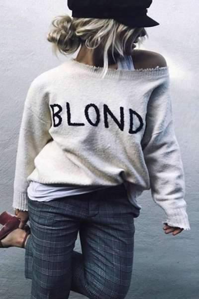 One Shoulder Asymmetric Hem Letters Sweaters
