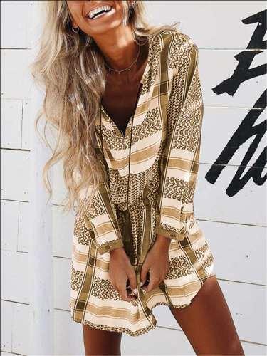 Fashion Print V neck Lacing Long sleeve Shift Dresses
