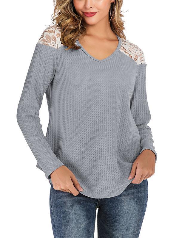 Lace patchwork shoulder v-neck long-sleeved  T-shirts