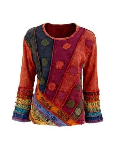 Vintage plus size printed multicolor flared sleeve blouses