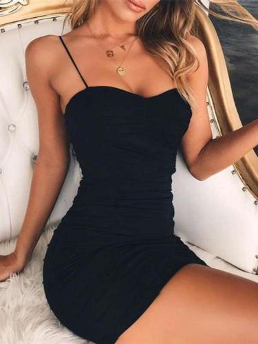 Sexy Pure Drape Vest Bodycon Dresses