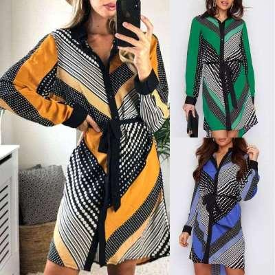 Fashion Stripe Print V neck Long sleeve Lacing Shift Skirt Dresses