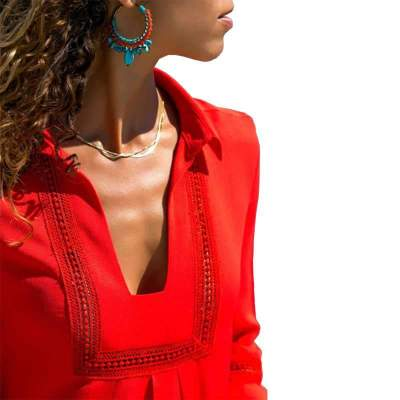 Casual Pure V neck Long sleeve Shift Dresses