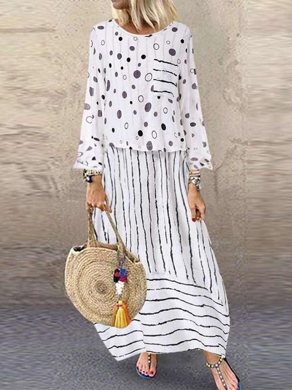 Loose Plus Point Layered Maxi Dresses