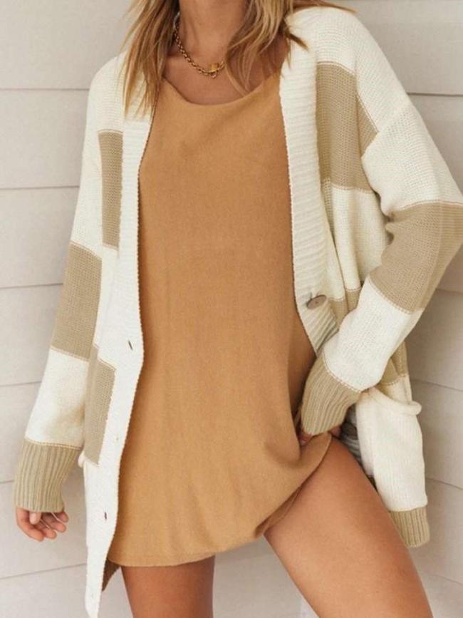 Fashion Casual Long sleeve Plaid Knit Cardigan