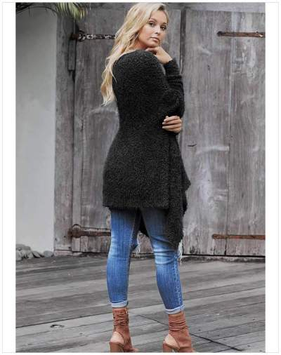 Loose Pure Knit Long sleeve Irregular Coats