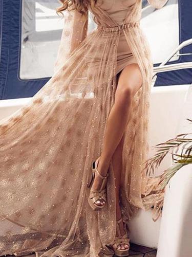 Elegant long sleve two pieces women evening dresses