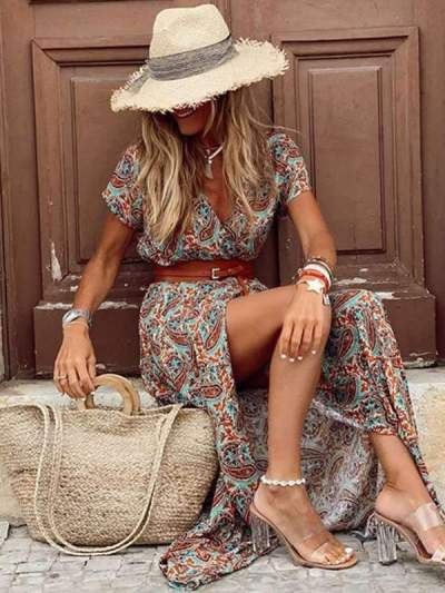 Bohemian v-neck floral long vacation dresses