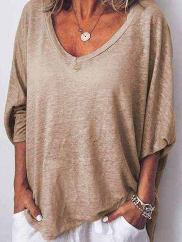 V neck Batwing sleeve Loose T-Shirts