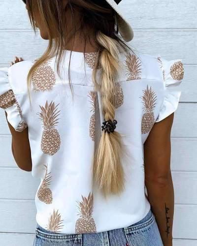 Casual Print V neck Falbala Blouses