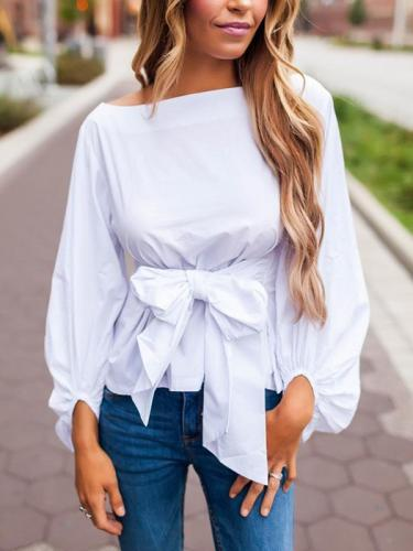 Off-shoulder Long sleeve Plain Fashion Blouses Top