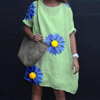 Casual Loose Print Short sleeve Round neck Shift Dresses