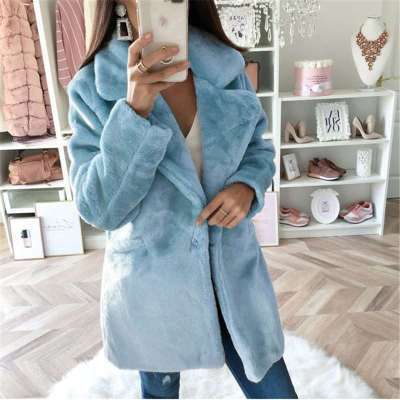 Pure Loose Plush Lapel Long sleeve Coats