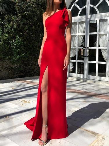 Elegant One off shoulder red plain Women Long Evening Party Dresses