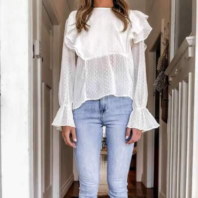 Fashion Pure Round neck Falbala Long sleeve Blouses