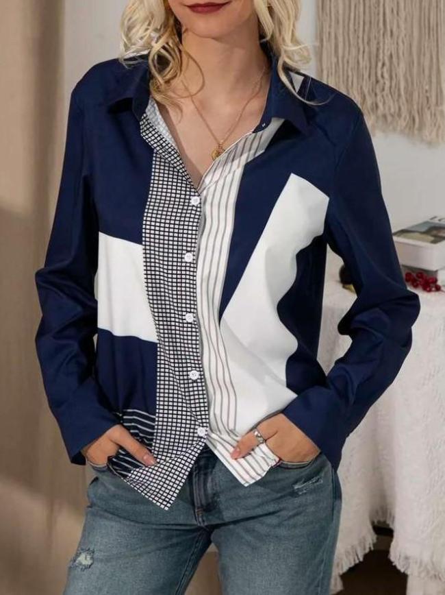 Fashion Gored print Lapel Long sleeve Blouses