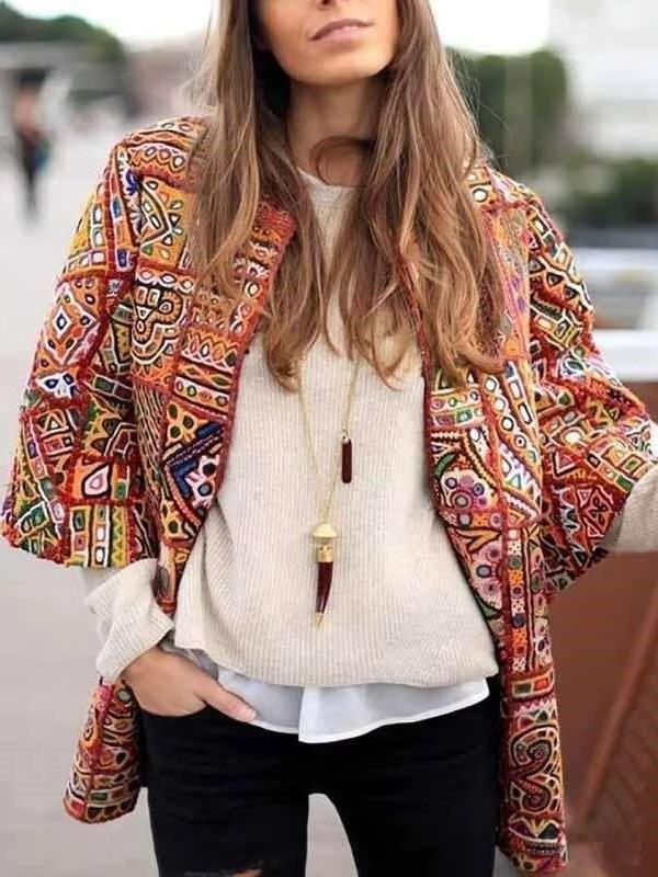 Fashion Print Round neck Three quarter sleeve Coats