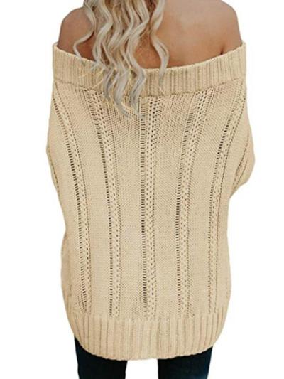 Chic Warm thickened braided off shoulder sweaters