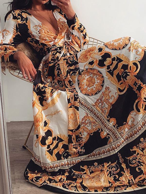 Vintage Printed V-neck long sleeves wide hem maxi dresses