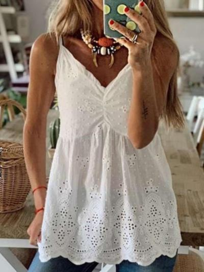 Casual Pure V neck Vest Hollw out Blouses