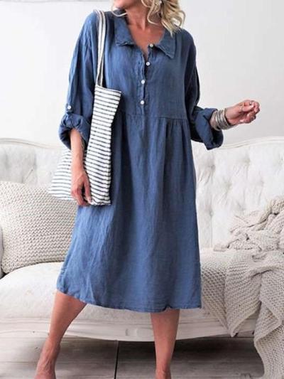 Casual Pure Lapel Fastener Long sleeve Maxi Dresses