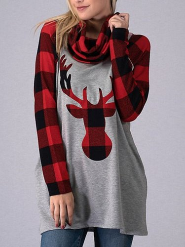 Christmas Deer High Collar Woman Swearshirts