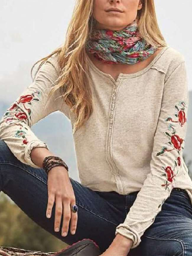 Casual Embroidery Round neck Long sleeve T-Shirts