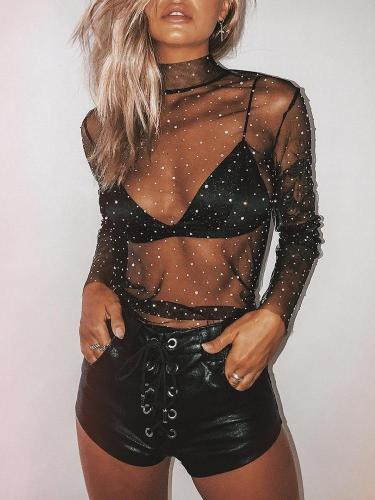 Sexy Gauze  Paillette Women Lace Shirt