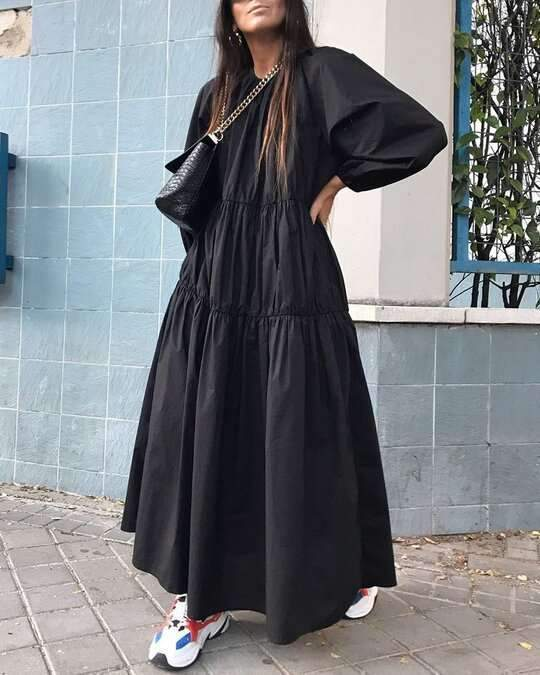 Casual Loose Pure Gored Round neck Long sleeve Maxi Dresses