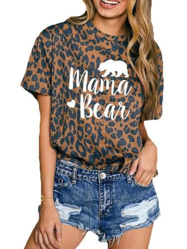 women leopard printed  round neck short sleeves T-shirts