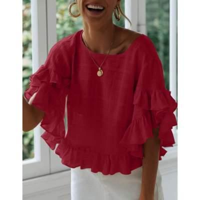 Fashion Falbala Mandarin sleeve Blouses