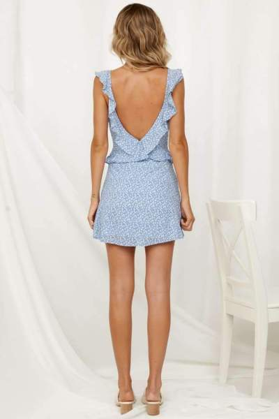 Fashion Sexy Print Vest Falbala Backless Shift Dresses