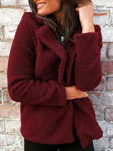 Autumn Winter Turn-down Collar Daily Woman Plush Short Coats