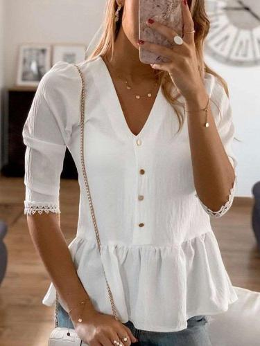 Fashion Pure V neck Gored Half sleeve Blouses